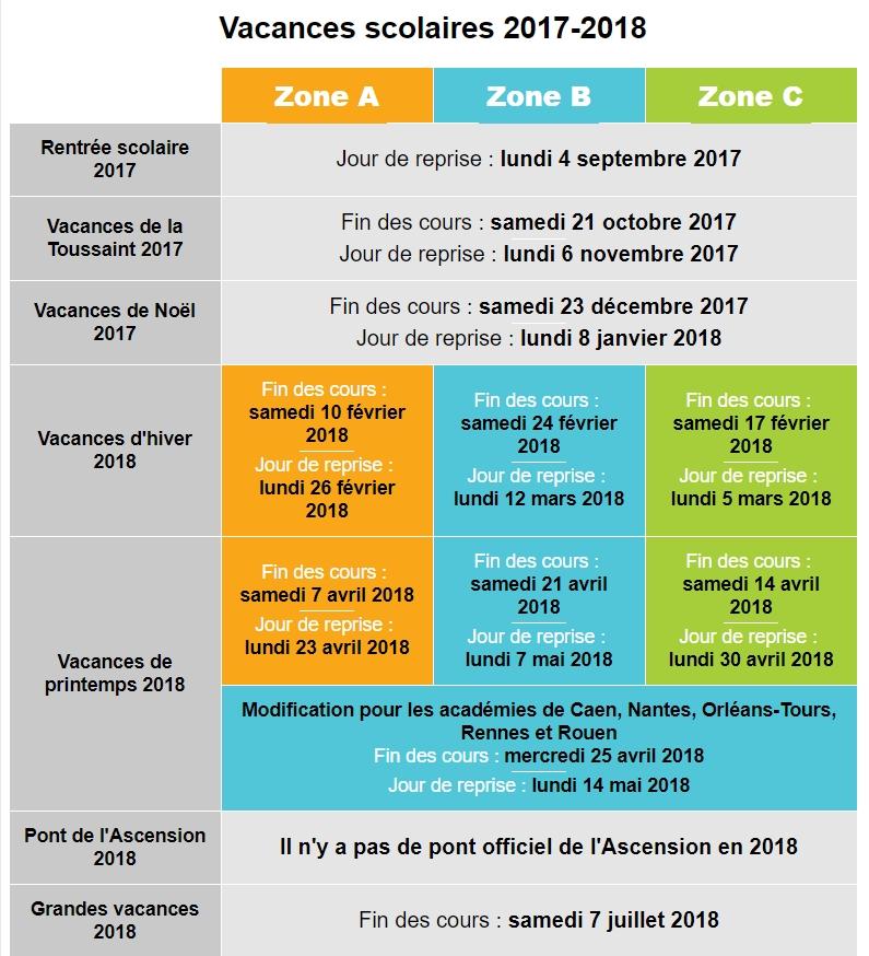 Calendrier vacances 2017 2018