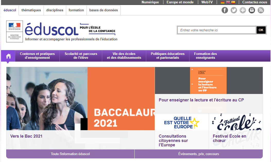 PAGE ACCUEIL EDUSCOL